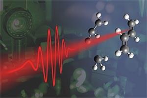 Bei der neuen Methode wird mithilfe eines kurzen Laserpulses ein Molekül - in diesem Fall Butadien - in zwei Bruchstücke zerteilt.