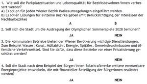Die Fragen zur Wiener Volksbefragung 2013. (Der grammatikalische Fehler in der zweiten Antwort zur ersten Frage wurde im Nachhinein vom Rathaus korrigiert, Anm.) derStandard.at fragt schon jetzt: Wie würden Sie entscheiden?