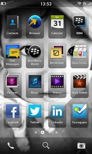Der neue Homescreen von BlackBerry 10.