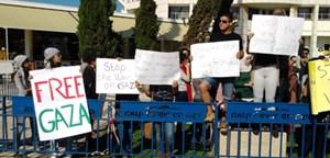 Demonstration in Tel Aviv vor der Uni während des Gaza-Krieges im November.