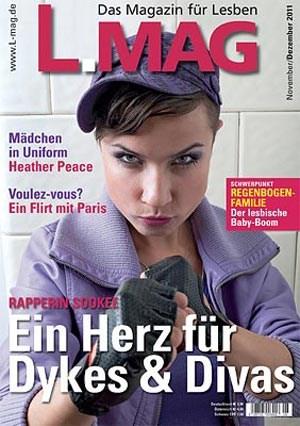 """2003 erschien die erste Ausgabe von """"L-MAG"""", """"Deutschlands Magazin für Lesben"""". Auf dem Coverbild der Ausgabe von November/Dezember 2011: Berliner Rapperin und """"local heroine"""" Sookee."""