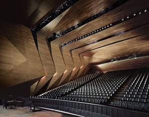 Innen verheimlichen die Holzschuppen, dass es sich beim Konzertsaal eigentlich um eine Kiste handelt.