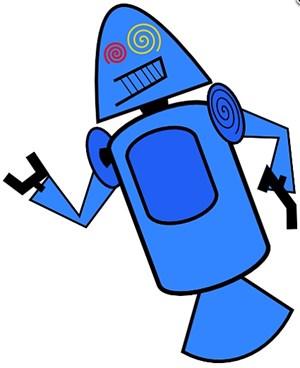 """Ein weiterer """"Droid"""", diesmal ganz in Blau."""