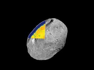 DAWN-Aufnahme des Asteroiden Vesta, ergänzt um einen hypothetischen Blick in das dynamische Innere eines vergleichbaren Asteroiden etwa 50 Millionen Jahre nach dessen Bildung.