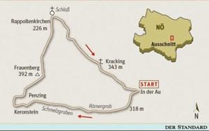Gesamtgehzeit knappe 4 Stunden, Höhendifferenz rund 300 m. Gasthaus in Rappoltenkirchen (wochentags, ausgenommen Dienstag, von 8 bis 22 Uhr, an Sonn- und Feiertagen von 8 bis 15 Uhr geöffnet). ÖK25V Blatt 5319-West (Tulln an der Donau), Maßstab 1:25.000; Freytag & Berndt Wienerwaldatlas, Maßstab 1:50.000