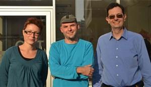 Die stellvertretende Radlobby-Vorsitzende Beatrice Stude, Geschäftsführer und Sprecher Alec Hager und Vorsitzender Andrzej Felczak (v. li.).