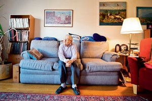 "Kurt Sonnenfeld, photographed in his home in Forest Hills, Queens. Among his many activities, Mr. Sonnenfeld is a protagonist of the weekly ""Stammtisch"" where he often prepares his famous ""Palatschinken ""."