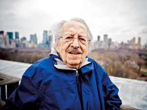 Hans Weiss, also known as Hawei, on the rooftop of the apartment building he has lived in for many years, overlooking Central Park. Mr. Weiss regularly volunteers at the Park information booth across the street.