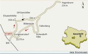 Gesamtgehzeit 3¾ Stunden, Höhendifferenz rund 400 m. Gasthaus Gamshöhe (Mittwoch und Donnerstag Ruhetage), mehrere Heurige in Hagenbrunn. ÖK25V Blatt 5320-West (Wien), Maßstab 1:25.000; Freytag & Berndt Wienerwald-Atlas, Maßstab 1:50.000