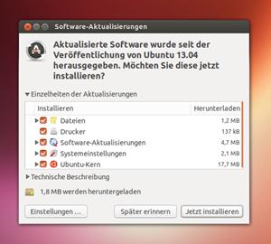 Auch das Tool zur Softwareaktualisierung wurde grafisch leicht überarbeitet.