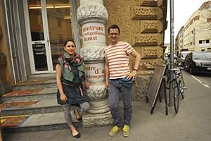 Pflegen Kunst des Urbanen mitten im Viertel: Makovec (li.) und Lederer.