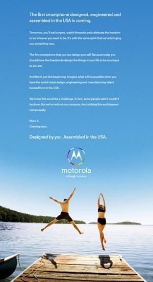 Motorola bewirbt das Moto X in einer ersten Anzeige.