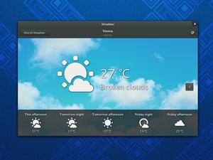 Eine der neuen Anwendungen: GNOME Weather.