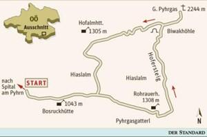 Gesamtgehzeit 5½ Stunden, Höhendifferenz 1.200 m. Rohrauerhaus bis Ende Oktober durchgehend geöffnet; Biwakhöhle am Weg unterhalb des Gipfels. ÖK25V Blatt 4208-West (Spital am Pyhrn), Maßstab 1:25.000.