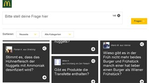 """Unser Esser. Eure Fragen"": McDonald's-Plattform fragmcdonalds.at."