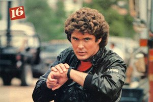 David Hasselhoff using a smartwatch before it was cool.
