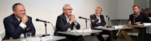 """Richard Grasl (ORF), Peter Lammerhuber (GroupM), Gerhard Riedler (Mediaprint) und Sebastian Loudon (""""Horizont"""", Bestseller)."""