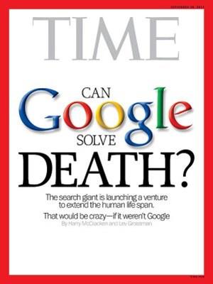 Google investiert erneut in die Gesundheitsbranche. Dieses Mal sollen lebensverlängernde Maßnahmen erforscht werden. Im Bild: Das Cover des Time Magazins