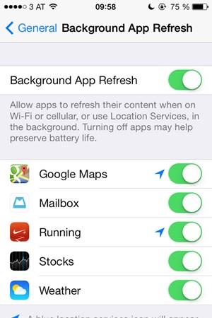 Einige Apps aktualisieren ihre Inhalte im Hintergrund - das kostet natürlich Akku