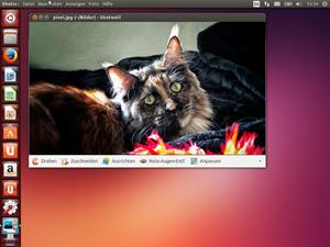 Die Bilderverwaltung Shotwell ist bereits in der eben erst veröffentlichten Version 0.15 mit dabei. Im Bild der Anzeigemodus samt einfachen Bearbeitungsfunktionen.