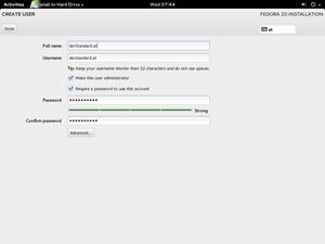 Fedora 20: Der Installer mittlerweile recht einfach zu nutzen.
