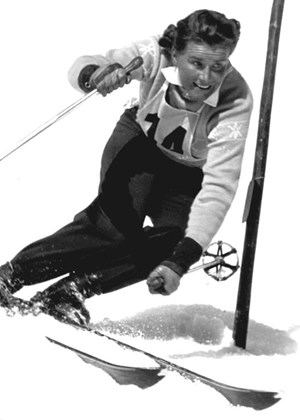 Erika Mahringer bei der Ski-WM 1954 in Are...