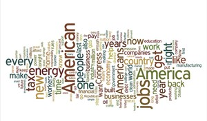 "Obamas ""State of the Union"" als Wordle."
