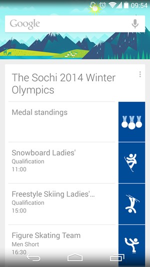 Bei Wunsch: Laufend aktuelle Olympia-Infos in Google Now.