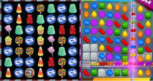 "Screenshot-Vergleich: ""CandySwipe"" (links) und ""Candy Crush Saga""."