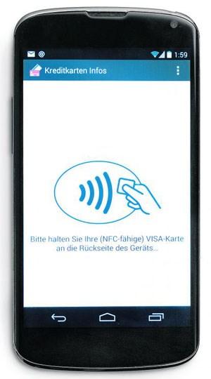 Ein android smartphone mit nfc chip und die app kreditkarten infos