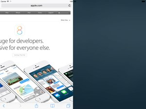 Ein Screenshot zeigt den Split-Screen-Modus von iOS 8 am iPad.