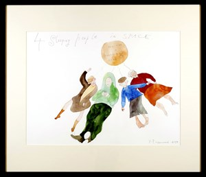 Krinzinger Projekte: Pavel Pepperstein, 4 Sleeping People in Space, 2014, Watercolour on Paper, Private Collection
