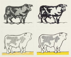 "Sturtevants dem Original ebenbürtige Wiederholung: ""Study for Lichtenstein Bull I and II"" (1988)."