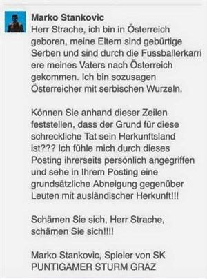 Via Facebook richtete sich Stankovic an FPÖ-Chef H.C. Strache.