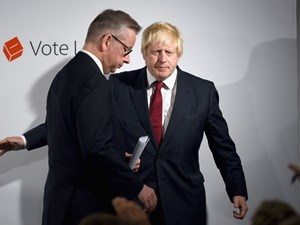 Parteifreunde: Gove (li.) und Johnson in London.