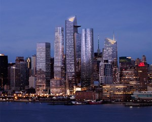 Das Großprojekt Hudson Yards am Hudson River in New York City.