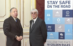 Stay safe on the road: FIA-Präsident Jean Todt und Formel-1-Boss Bernie Ecclestone