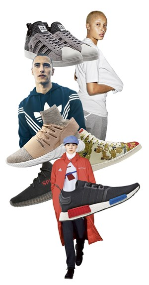 Sneakers des Begehrens: Superstar BOOST, Stan Smith Mid, NMD_R1 OG, YEEZY BOOST 350, Tubular Doom PK (im Uhrzeigersinn). Dazwischen Outfits by XbyO und unten von Gosha Rubchinskiy.
