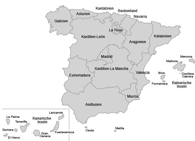 Spanien Regionen Karte.Autonome Regionen Spaniens Urlaub In Spanien Derstandard At