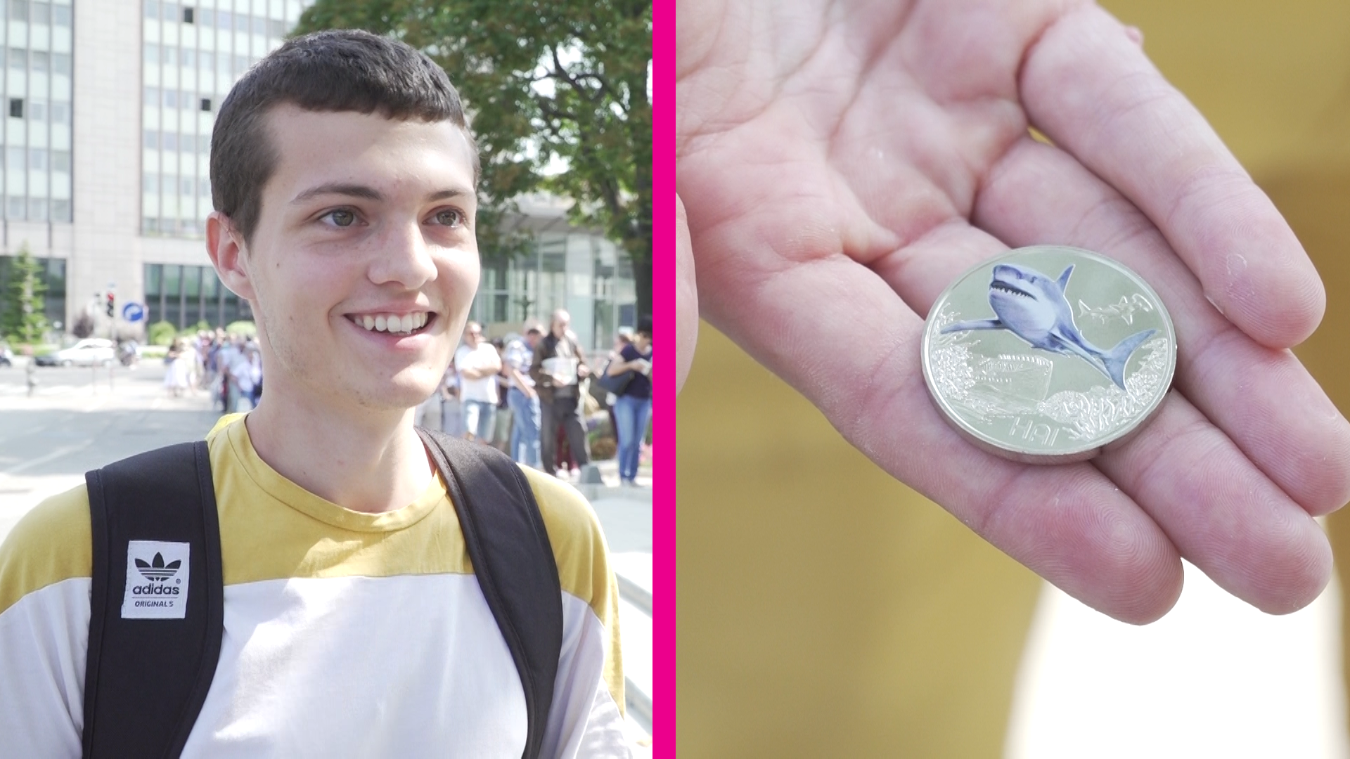 Neue Drei Euro Münze Schlange Stehen Für Den Leuchtenden Hai Geld