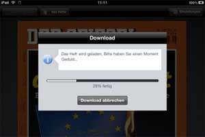 """Spiegel"" zum Downloaden am Apple-Tablet."