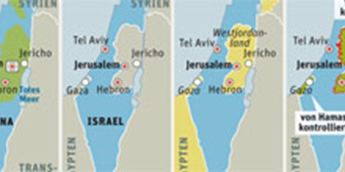 Nahost Karte.Grenzverschiebungen Seit Bestehen Des Staates Israel Nahost