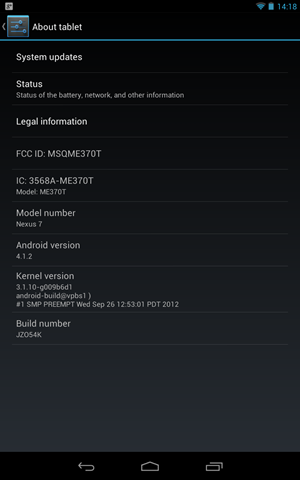 Die Build-Informationen von Android 4.1.2 am Nexus 7.