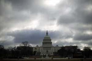 Dunkle Wolken über dem Kapitol in Washington