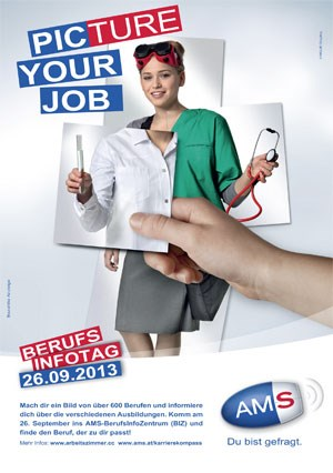 "Das Sujet zu AMS-Kampagne ""Picture your job""."
