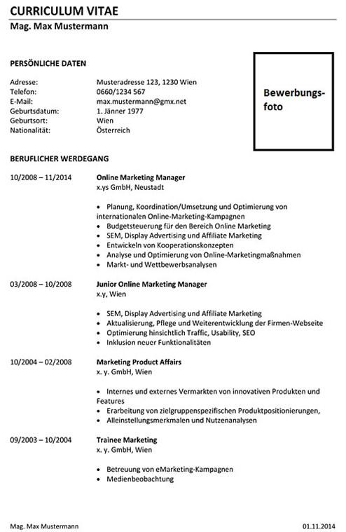 Lebenslauf Vorlage für Marketingmitarbeiter - Lebenslauf ...