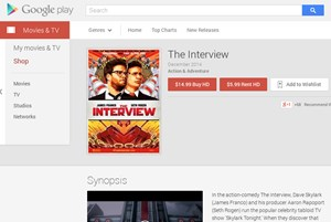 """The Interview"" auf Google Play Movies in den USA."