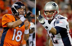Denver Broncos vs. New England Patriots, Peyton Manning vs. Tom Brady.