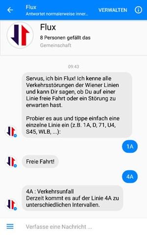 Flux Messenger Chatbot Meldet Störungen Bei Wiener Linien Apps