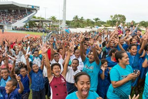 Public Viewing im ANZ stadium in Suva auf Fidschi.